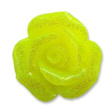 20mm NEON YELLOW Glitter Rose Resin Flatback Cabochon